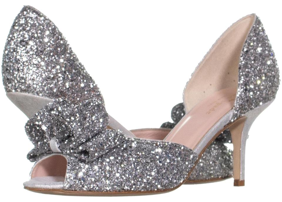 e394dc5859ab Kate Spade Silver Sela Bow D orsay Dress Sandals 167 Pumps Size US 7 ...