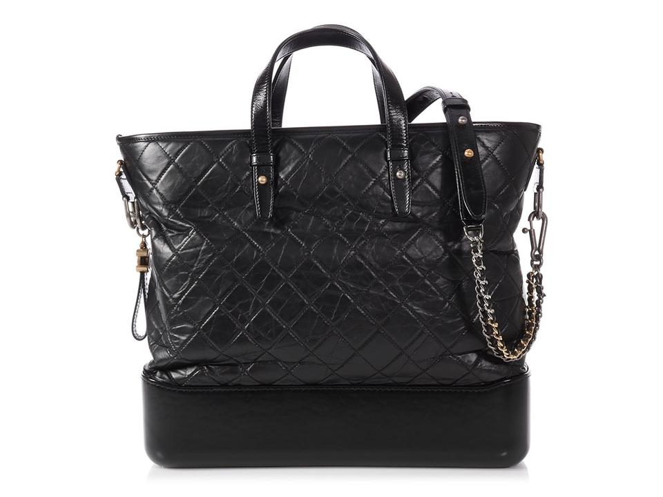 17433bbcc1a7 Chanel Ch.p1130.32 Quilted Distressed Silver Hardware Gold Hardware Tote in  Black Image ...