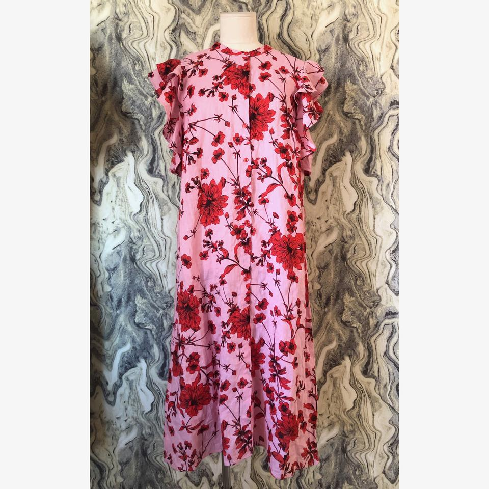 3860755e Zara Pink Red L New Floral Ruffle Linen Blogger Mid-length Casual ...