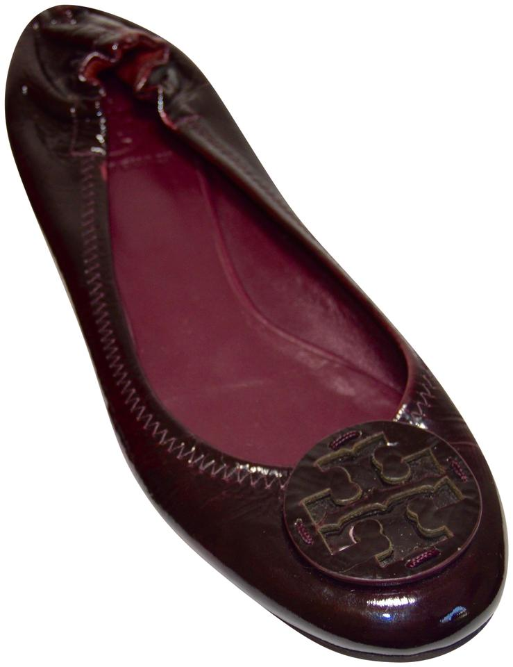 2aeaf7981486 Tory Burch Maroon Reva Scrunchback Patent Leather Ballet Flats Size ...