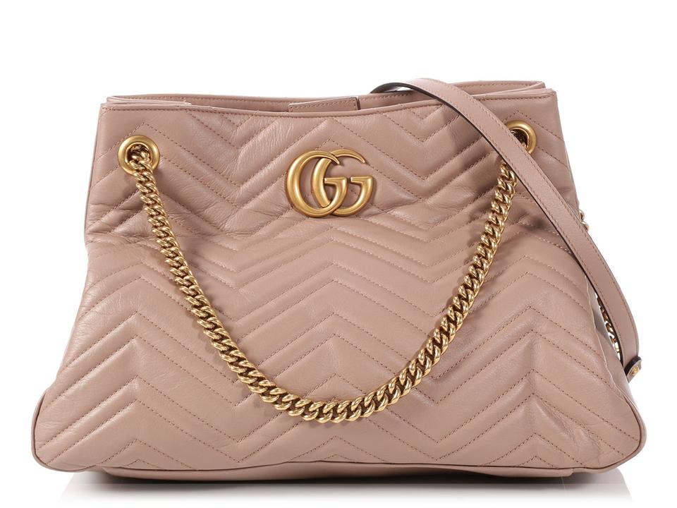 5561925fb Gucci Marmont Matelasse Quilted Gg Porcelain Rose Beige Leather Shoulder Bag