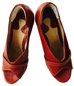 Chloe Brown/lucite Wedges
