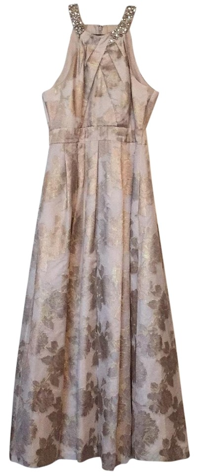 edb60aec39 Eliza J Champagne and Gold Beaded Halter Neck Jacquard Gown Formal Dress
