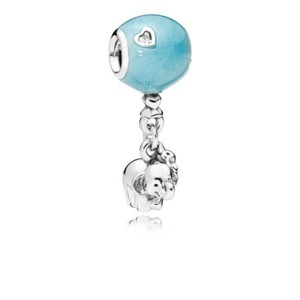 PANDORA 797239EN169 ELEPHANT & BLUE BALLOON DANGLE CHARM, BLUE ENAMEL & CLEAR CZ