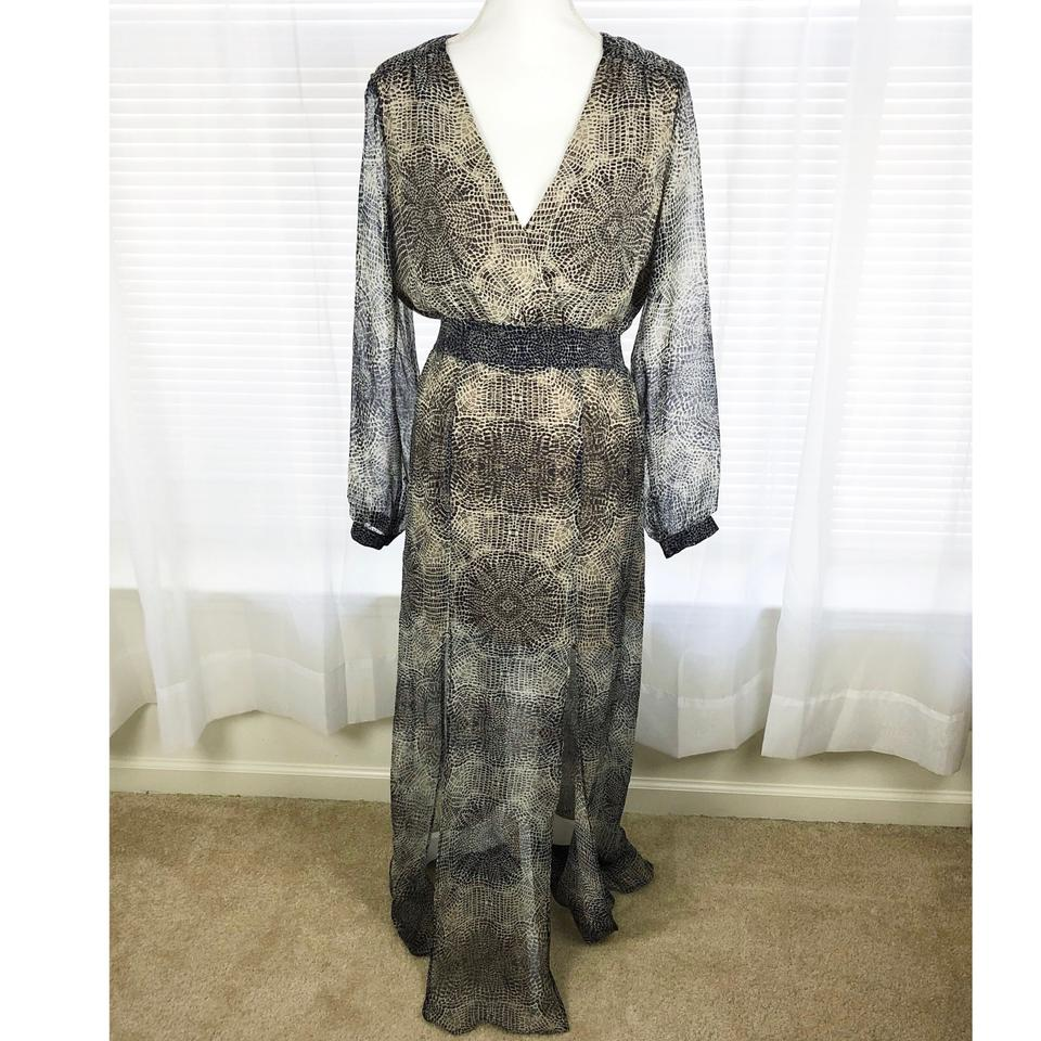 Twelfth St By Cynthia Vincent Brown Lace Snake Silk Sleeve Long Casual Maxi Dress Size 12 L 80 Off Retail