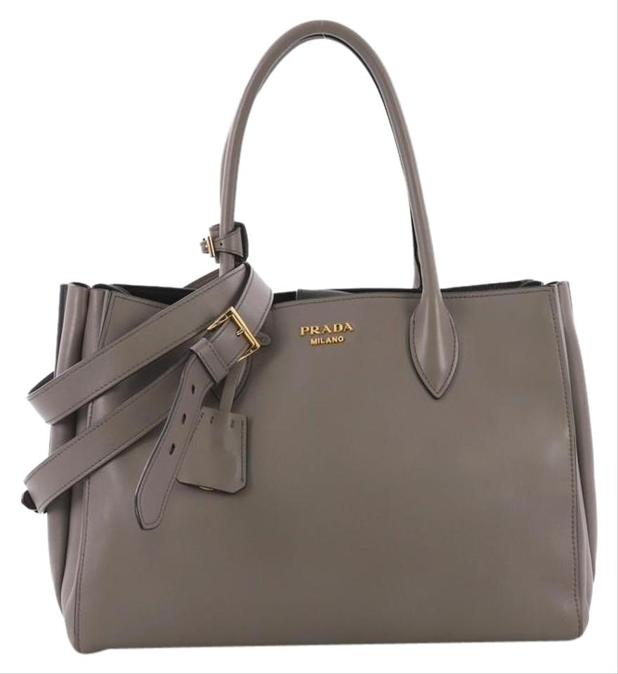 23c29244f32c Prada Soft Bibliotheque Handbag City Calfskin Medium Gray Leather Tote