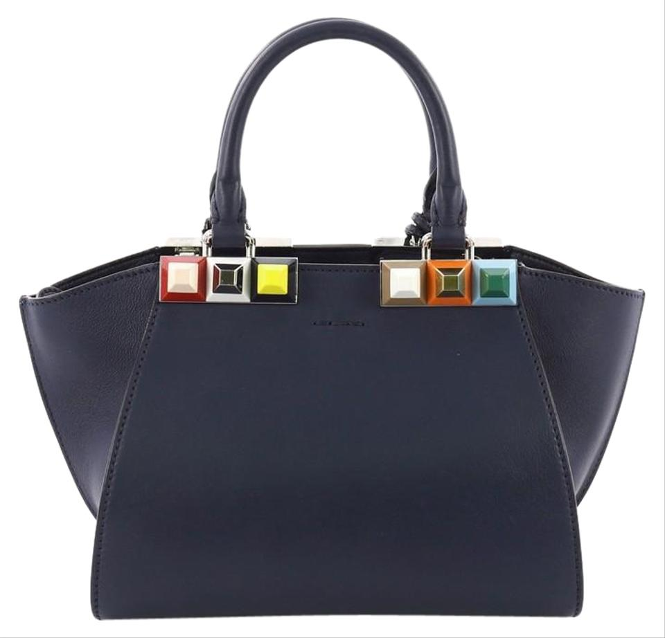 1181d32260 Fendi 3jours Handbag Studded Mini Blue Leather Tote - Tradesy