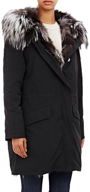Item - Black Fox Lined Twill Coat Size 8 (M)