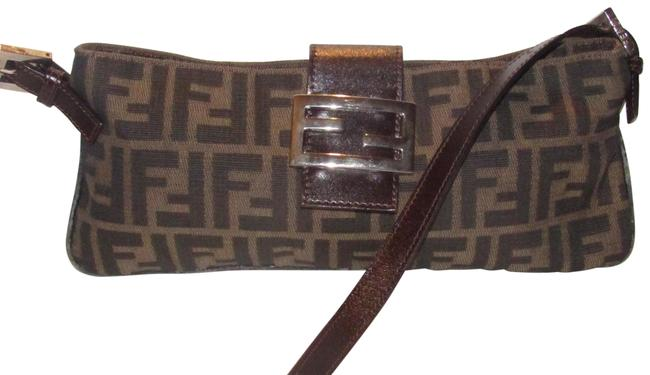 Item - Baguette Style Shoulder/Cross Body Purse Zucco Print In Browns Canvas and Leather Shoulder Bag