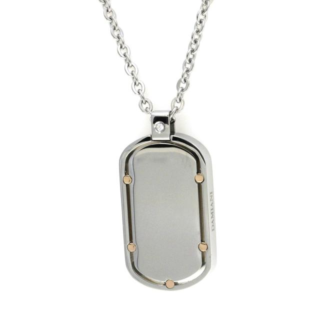 Item - Stainless Steel & 18k Gold Diamond Dog Tag Pendant Necklace
