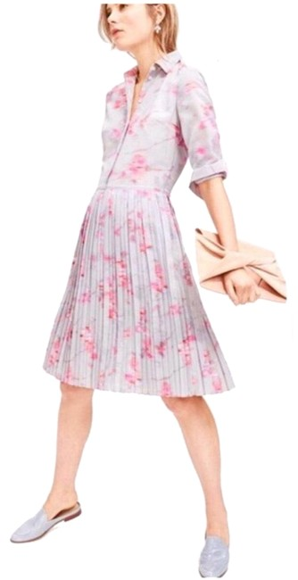 Item - Gray and Pink Mid-length Work/Office Dress Size Petite 2 (XS)