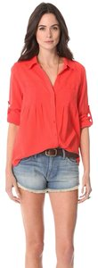 Joie Button Down Shirt Orange, Red, Coral