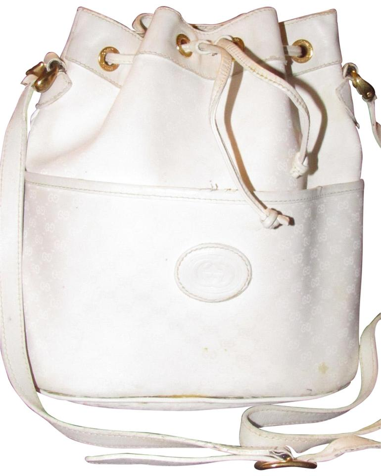 d338583aecd Gucci Drawstring Top Bucket Style Classic Style Cc Leather Satchel in white  small G logo ...