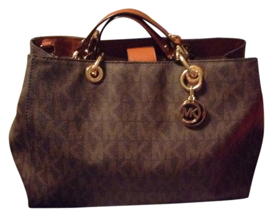 590e91c9ea38 Michael Kors Large Cynthia Brown and Tan Canvas Leather Satchel ...