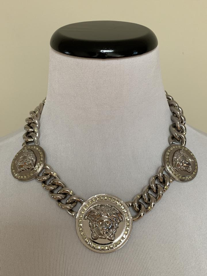 a66cdf7f98a68 Versace Silver Logo Iconic Medusa Medallion Thick Chain Statement Necklace