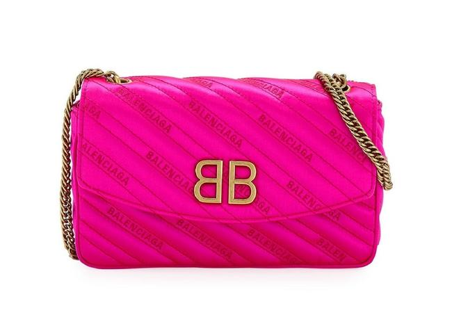 Item - Bb Wallet On A Chain Pink Satin Shoulder Bag