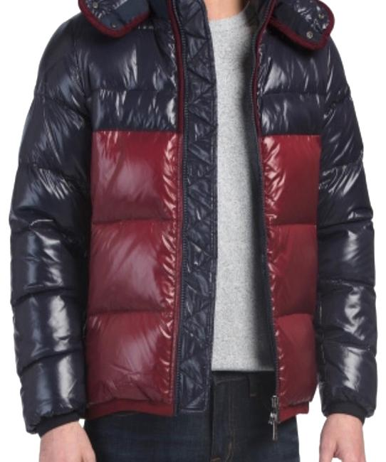 Item - Two Tone Navy and Red Hooded Quilted Down Jacket Coat Size 4 (S)