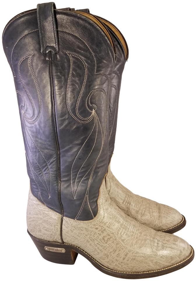 909e70e2994 Laredo Western Wear Gray and Blue Exotic Man Cowboy D Made In Usa  Boots/Booties Size US 9 Regular (M, B)