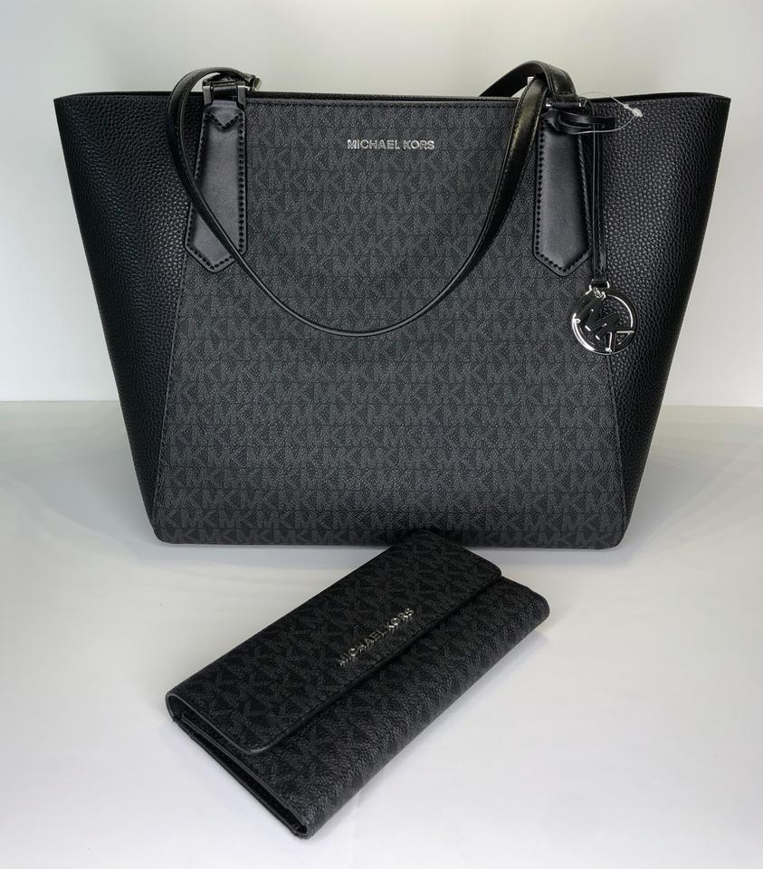 aa77b230bb1acf Michael Kors Kimberly Large Bonded and Matching Trifold Wallet Black ...