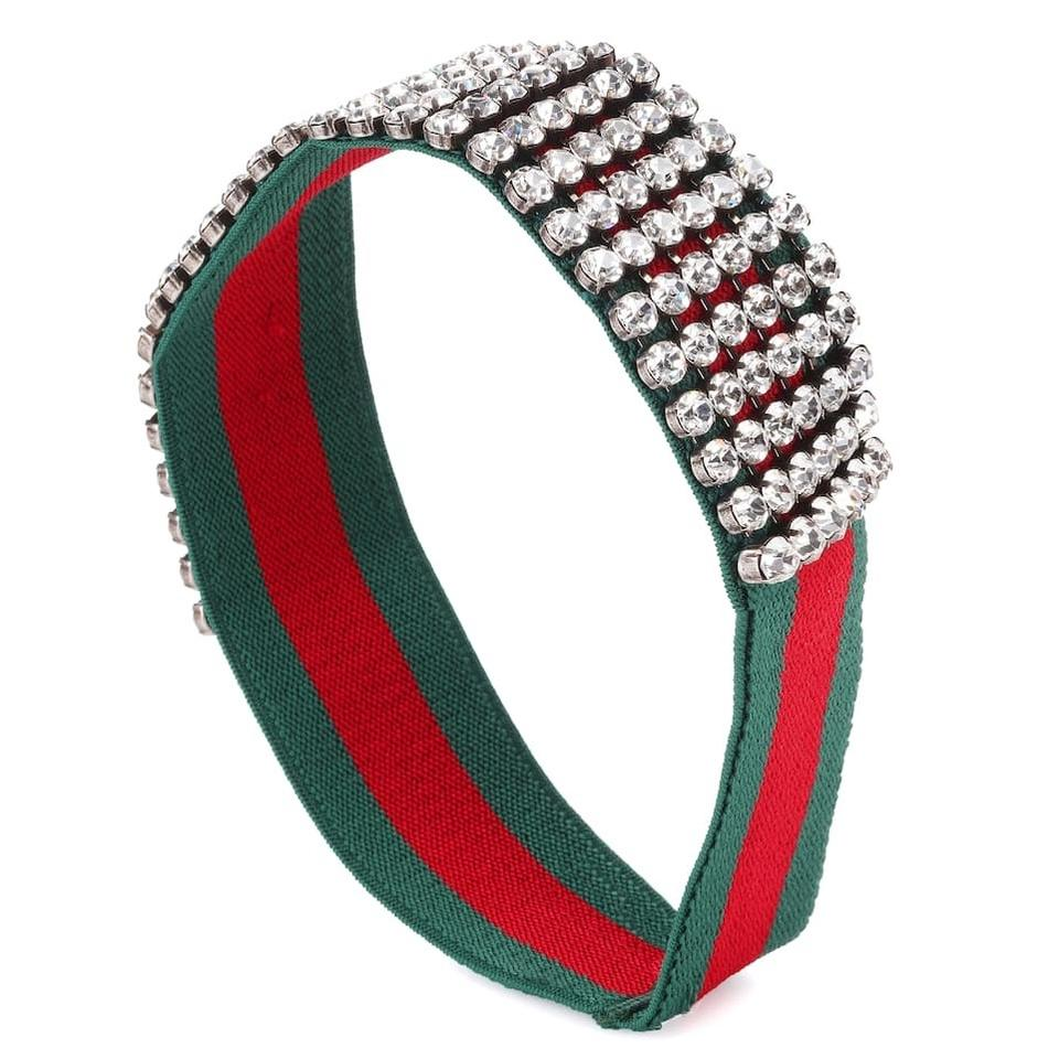Gucci Green and Red Small Elastic Web Crystal Headband Hair Accessory ed924d4a5f5
