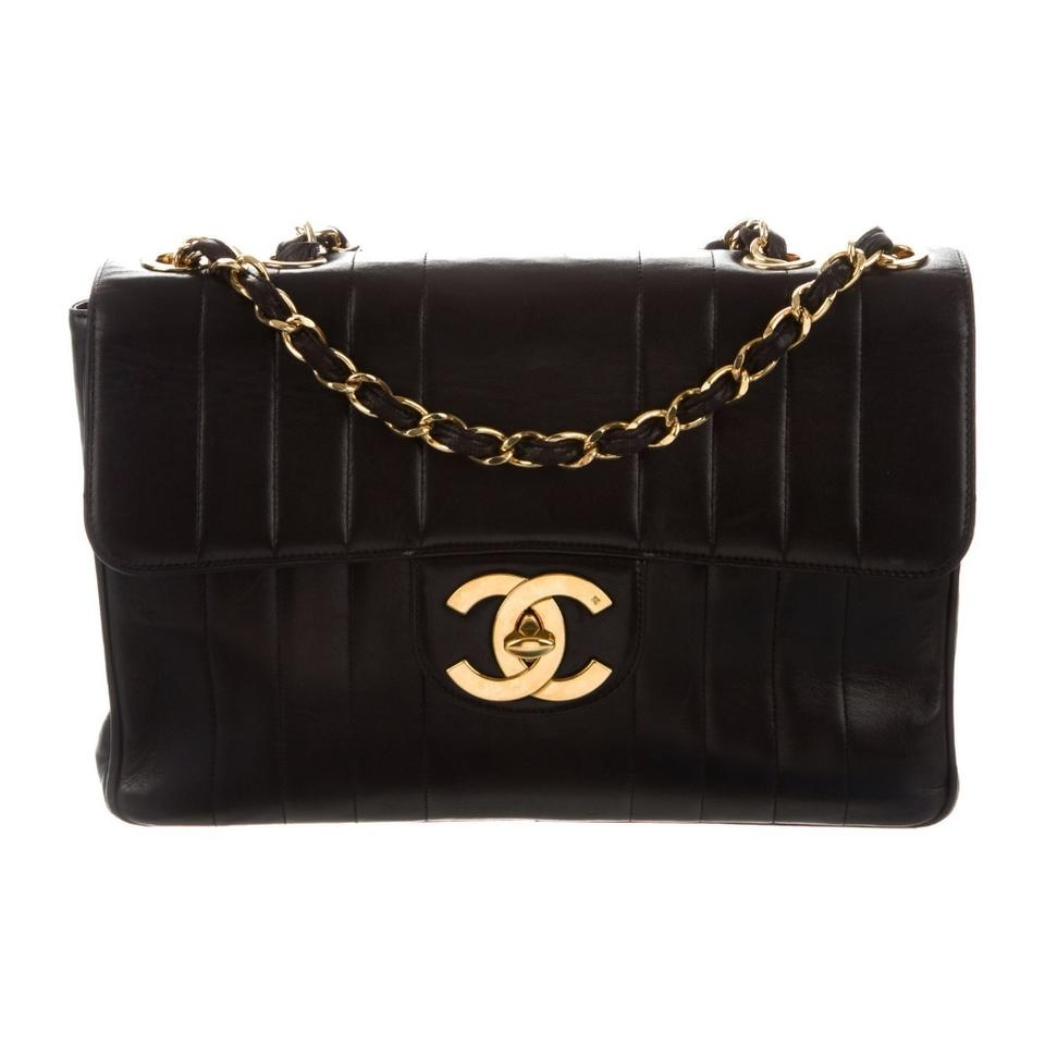 14f6ad6f5049 Chanel Mademoiselle Vntage Classic Vertical Quilt Jumbo Flap Black Lambskin  Leather Shoulder Bag