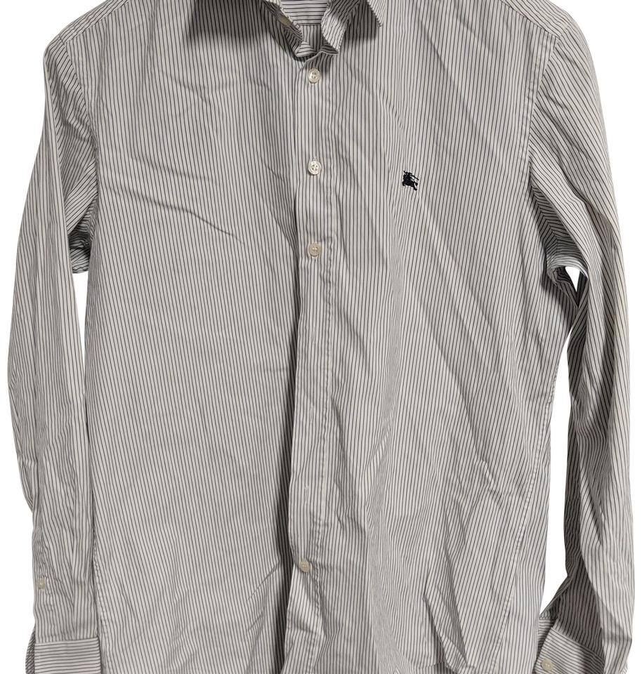 c4df3a034 Burberry White/Navy Striped Button-down Top Size 8 (M) - Tradesy