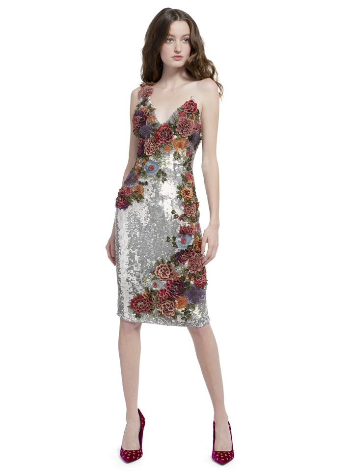 9e61cf9daf1b Alice + Olivia Silver Francie Sequin Mid-length Cocktail Dress Size ...