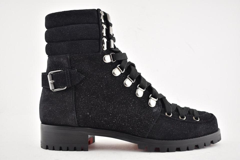 6f54b160258 Christian Louboutin Black Who Runs Flat Crosta Star Lace Up Tie Military  Combat Ankle Boots Booties