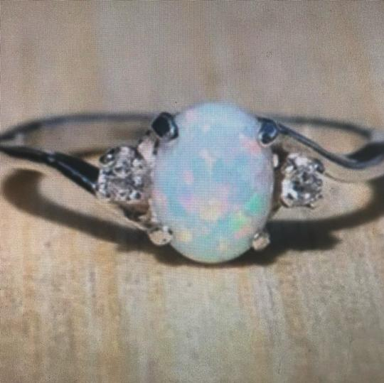 Vintage Expressions vintage white fire opal Oval Diamond 925 silver cocktail engagement wedding bridal ring