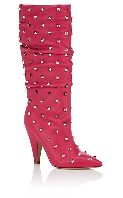 Item - Pink Rockstud Slouched Boots/Booties Size EU 37 (Approx. US 7) Regular (M, B)