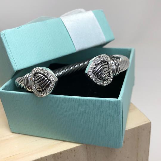 Other Women's Silver corded double heart CZ bangle