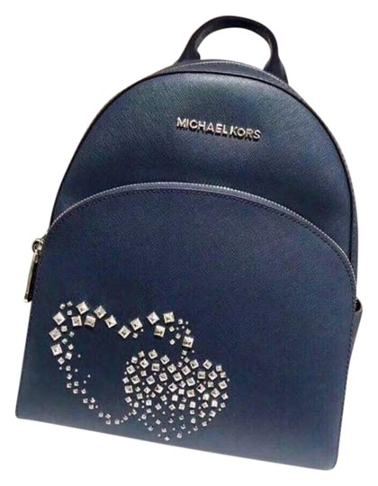 Preload https://img-static.tradesy.com/item/24618136/michael-kors-abbey-medium-heart-studed-blue-leather-backpack-0-1-540-540.jpg