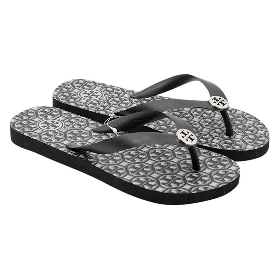 ec82405492bc Tory Burch Black Logo Lattice Combo Rubber Flip Flop Sandals Size US ...