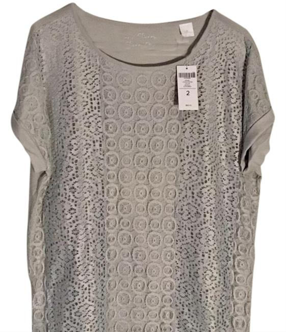 Preload https://img-static.tradesy.com/item/24618145/chico-s-gray-lace-patchwork-blouse-size-12-l-0-1-650-650.jpg