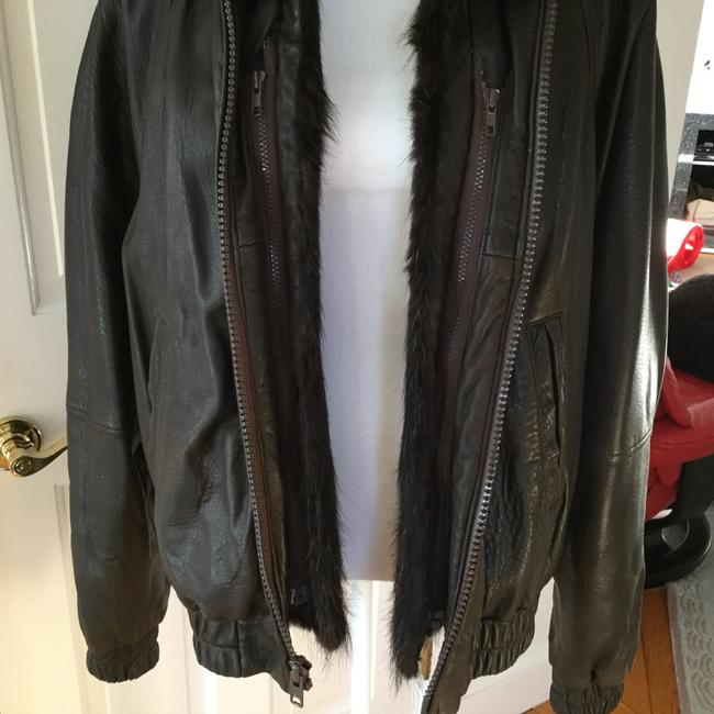 GK Furriers Chocolate Brown Leather Jacket