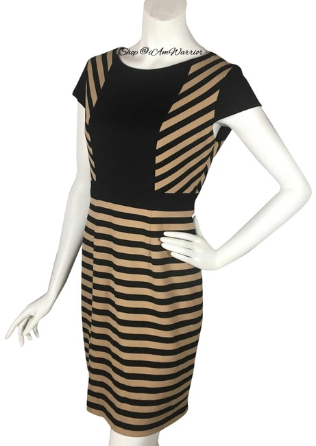 Preload https://img-static.tradesy.com/item/24618167/cynthia-steffe-black-and-tan-and-stripe-mid-length-workoffice-dress-size-10-m-0-8-650-650.jpg