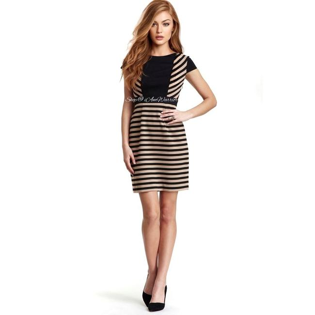 Item - Black and Tan & Stripe Mid-length Work/Office Dress Size 10 (M)