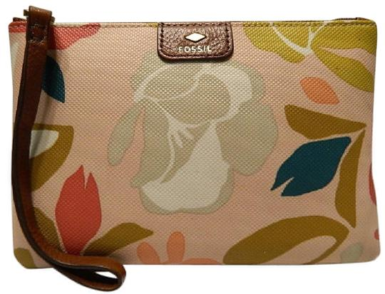 Fossil Floral Gift Idea Wristlet in Light Pink/Brass/Multicolor