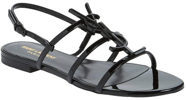 Saint Laurent Black Ysl Strappy Monogramme Flat Sandals Size EU 37.5 (Approx. US 7.5) Regular (M, B) Saint Laurent Black Ysl Strappy Monogramme Flat Sandals Size EU 37.5 (Approx. US 7.5) Regular (M, B) Image 1