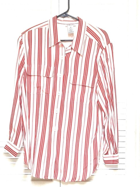 Talbots Button Down Shirt Red & Off White