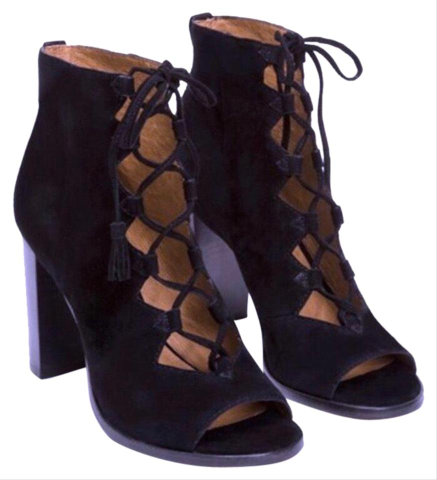 9b5c7c8c31216 Frye Black Gabby Ghillie Lace Up Heeled/Peep Toe Boots/Booties Size ...