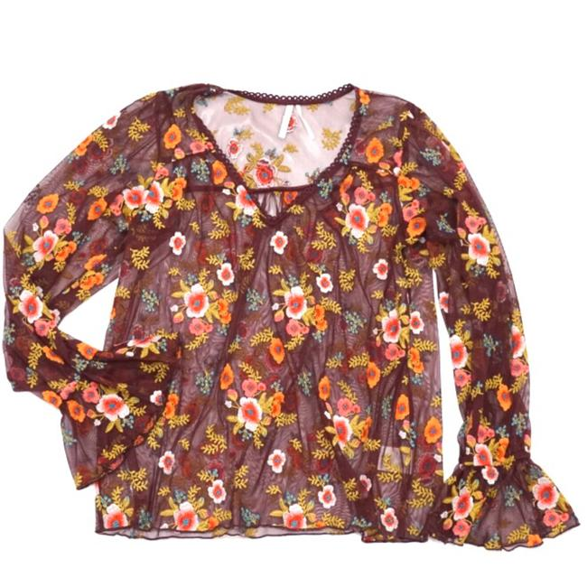Preload https://img-static.tradesy.com/item/24618446/anthropologie-maroon-feather-bone-floral-embroidered-mesh-blouse-size-4-s-0-0-650-650.jpg