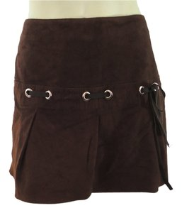 Vakko Suede Leather Mini Skirt Brown