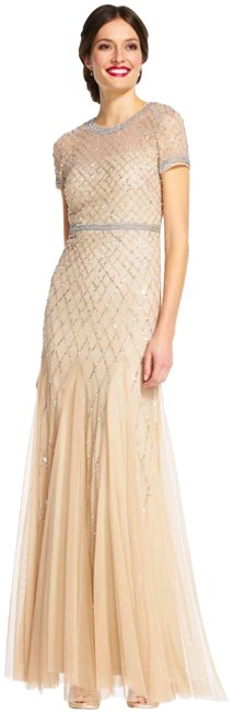 Preload https://img-static.tradesy.com/item/24618525/adrianna-papell-champagne-cap-sleeve-beaded-gown-long-formal-dress-size-10-m-0-1-650-650.jpg