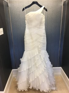 Ivory Tulle Pleated One Shoulder Ruffled Mermaid Gown 90-102 Traditional Wedding Dress Size 8 (M)
