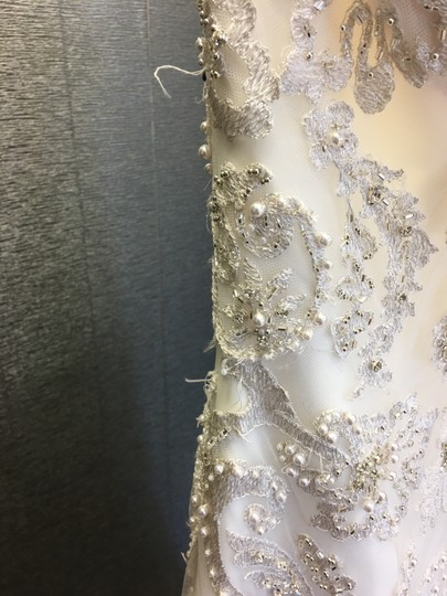 Ivory Ornate Beaded Strapless Sweetheart Mermaid Gown 40-423 Traditional Wedding Dress Size 8 (M)
