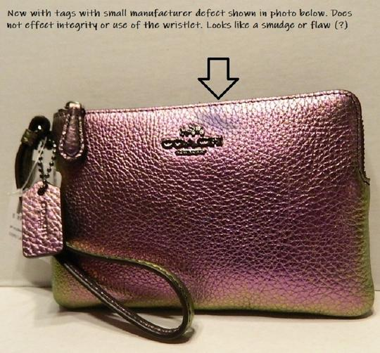 Coach New With Tags Hologram Pebbled Leather Holographic Wristlet in Purple/Multicolor