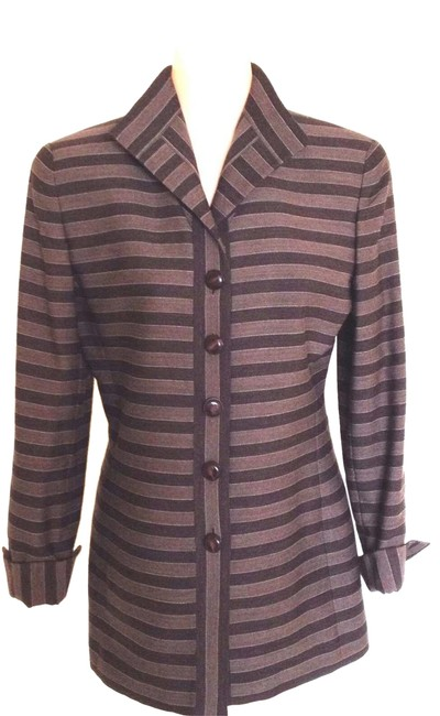 Item - Brown Stripped Jacket Size 4 (S)