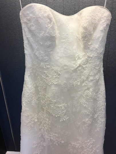 Ivory Lace Strapless Overlay Mermaid Q224 Traditional Wedding Dress Size 10 (M)