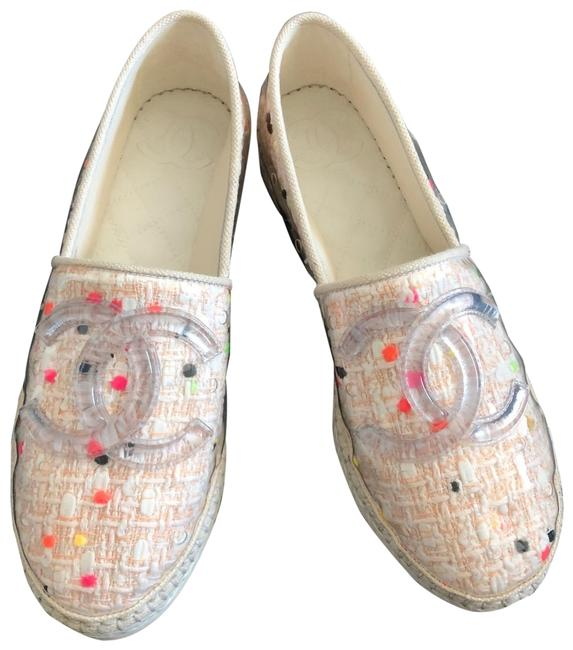 Item - Coral Cc Tweed Pvc Espadrilles Flats Size EU 35 (Approx. US 5) Regular (M, B)